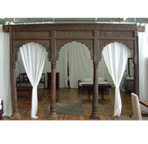 Wooden Old Carved Triple Archway