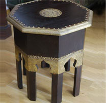 Wooden Brass Fitted Side Table