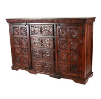 Wooden 4 Drawers Carved Side Board